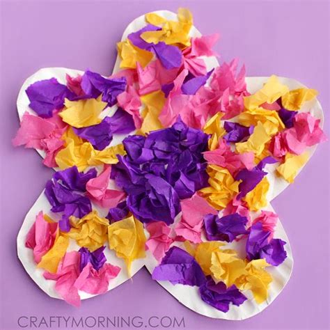 flower tissue paper craft paper plate flower craft using tissue paper motor