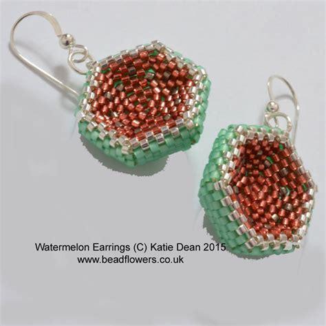 beaded flower earring patterns watermelon earrings beading pattern dean beadflowers