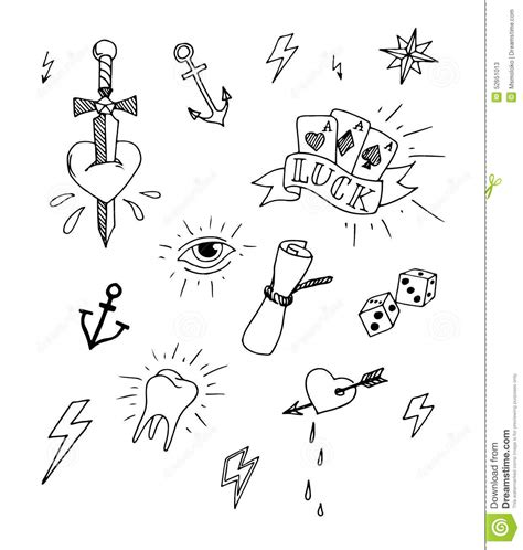 hand drawn tattoo design elements stock vector image
