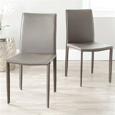grey leather dining chairs jazzy bonded leather grey side chair set of 2