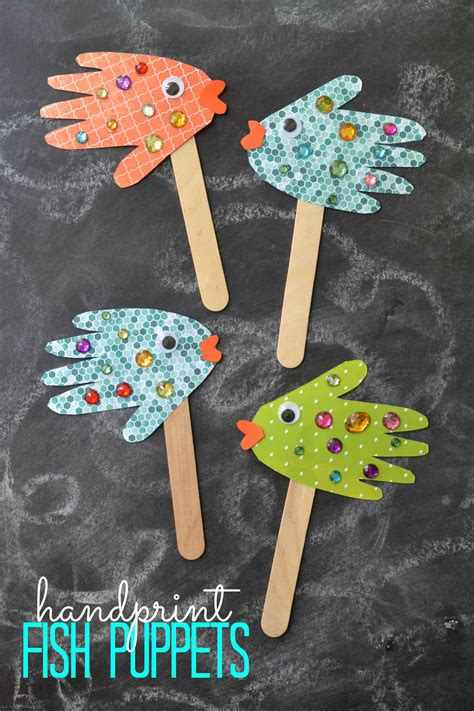 puppet crafts for handprint fish puppets kid craft glued to my crafts