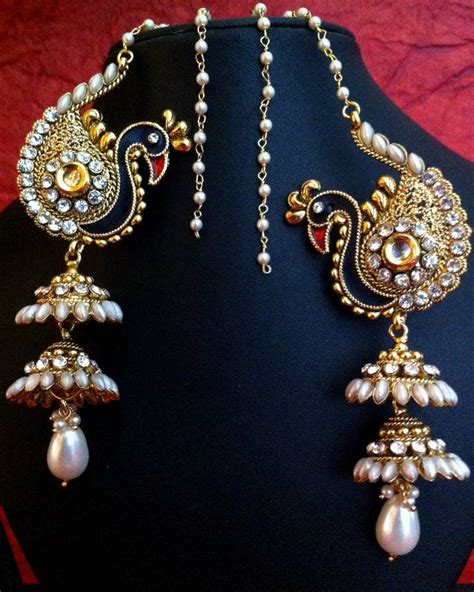 Design Home Decor Online buy peacock motif kashmiri jhumka adiva earring india