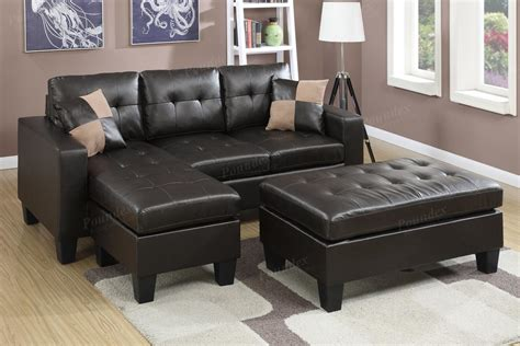 sectional sofa and ottoman set poundex cantor f6927 brown leather sectional sofa and