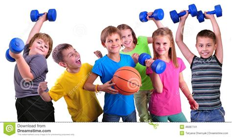 with children team of sportive friends with dumbbells and