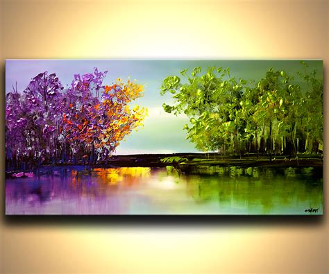 abstract landscape paintings landscape painting colorful blooming trees painting
