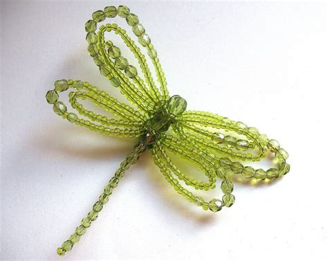 beaded dragonfly beaded dragonfly brooch in green summer gift jewelry