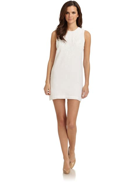 beaded shift dress connection harmony beaded shift dress in white lyst