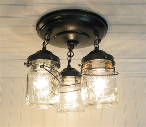 jar ceiling lights vintage pint jar ceiling light trio