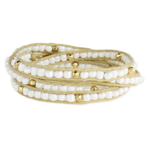 bead wrap bracelet pearl gold bead wrap bracelet