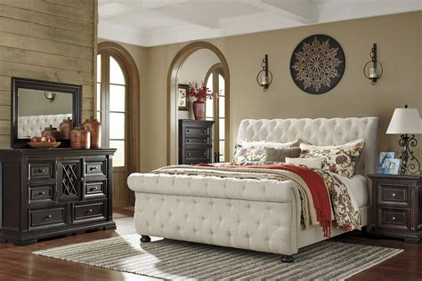 How To Decorate A White Bedroom willenburg linen queen upholstered sleigh bed b643 77 74