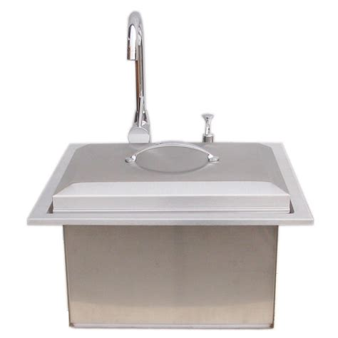 outdoor kitchen faucet sunstone premium drop in sink with and cold water faucet and cutting board b ps21 the home