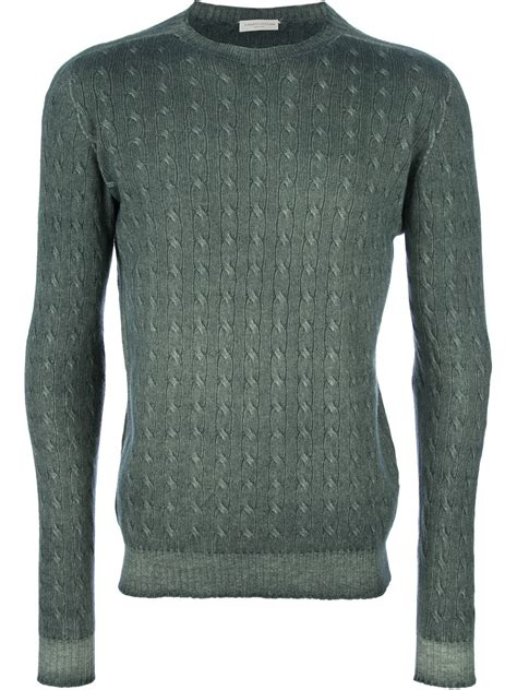 green cable knit sweater roberto collina cable knit sweater in green for lyst
