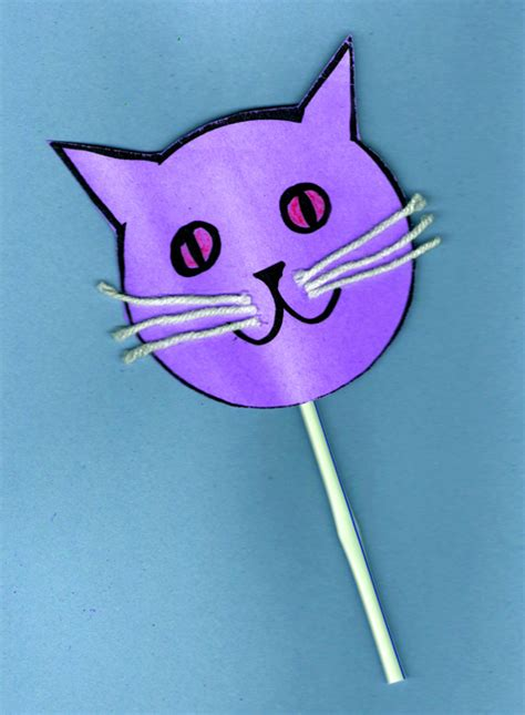 cat craft for cat puppet craft a free printable template