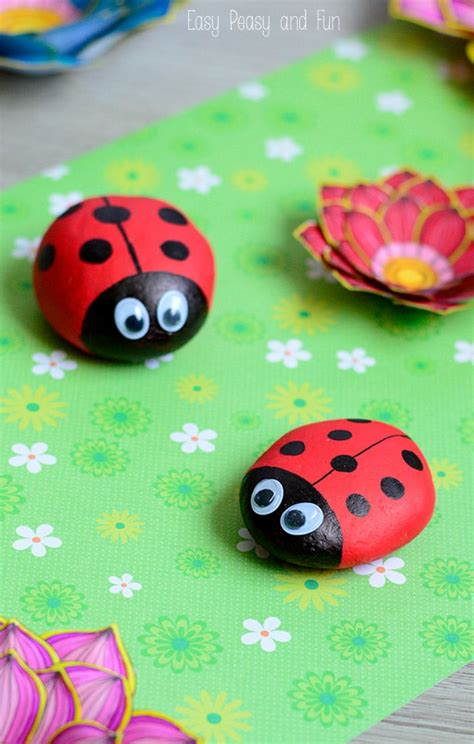 rock craft projects painted ladybug rocks rock crafts for easy