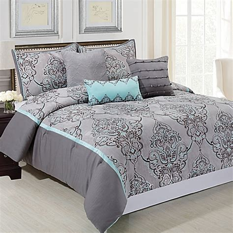 gray and blue comforter sets buy silver sparkle 6 comforter set in grey