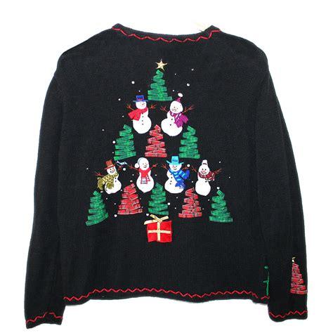 tacky sweater ribbon trees and snowmen tacky sweater