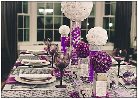 purple and white decorations colorful tabletop decor ideas white