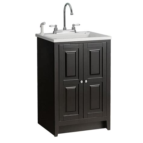 laundry sink with cabinet shop foremost casual plastic utility tub in 23 7 8 quot espresso cabinet at lowes