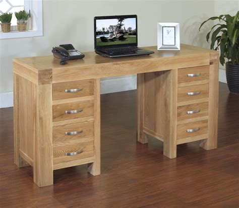 oak desk rivermead solid modern oak furniture large office pc