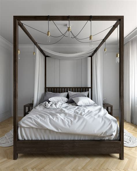 Four Poster Canopy Bed Bedroom Contemporary With