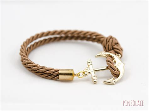 how to make rope jewelry gold anchor rope bracelet with brown color anchor