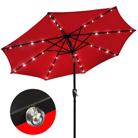 patio solar umbrella 9 patio solar umbrella led tilt aluminium deck outdoor garden parasol sunshade ebay
