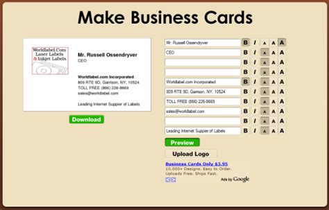 how to make a free business card free business cards worldlabel