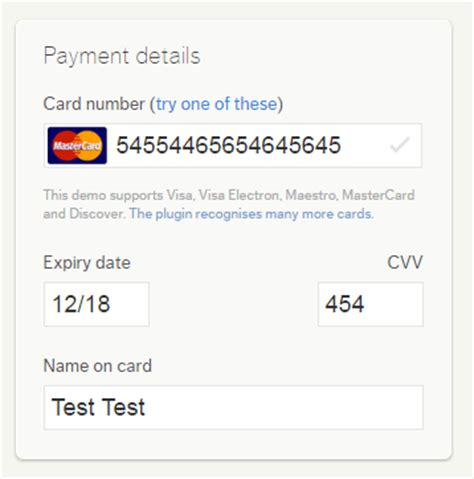 how to make credit card number 10 jquery credit card form plugins learning jquery