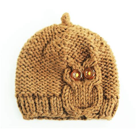 owl knit hat owl cable knit hat in chocolate brown