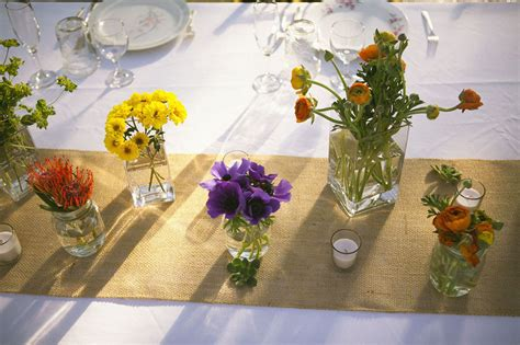 purple and yellow wedding centerpieces wildflower wedding centerpieces reception table decor