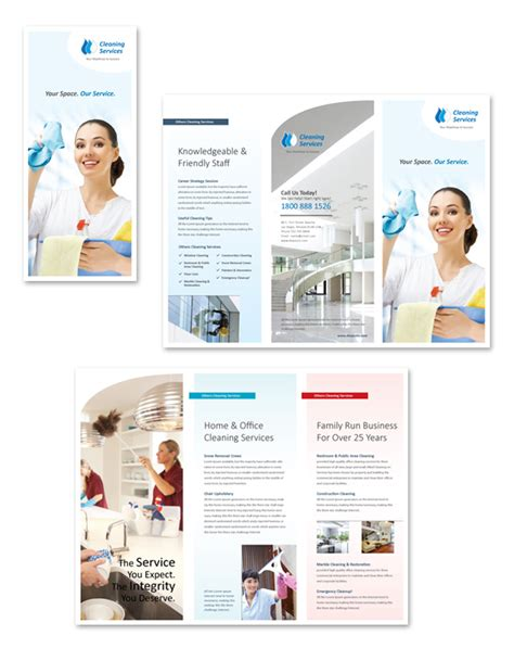 cleaning amp janitorial services tri fold brochure template