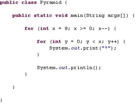 for for java pyramids for loop exle