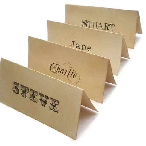 how to make name place cards personalised place cards vintage style by edgeinspired