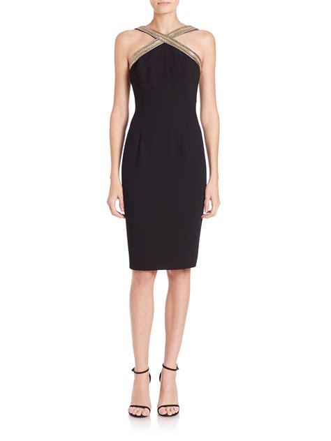 beaded halter dress marc valvo beaded halter dress in black lyst