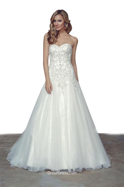 strapless beaded wedding dress princess strapless sweetheart neck a line beaded tulle
