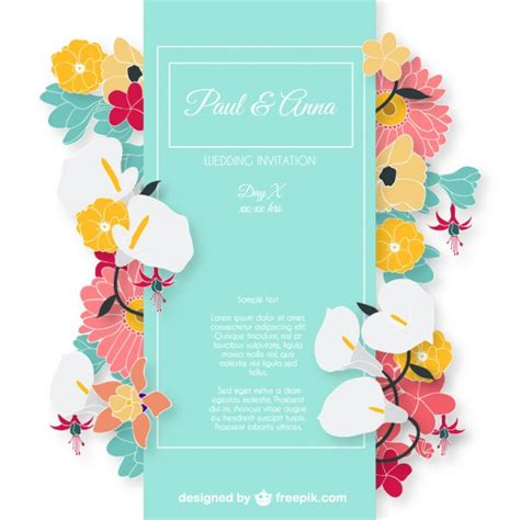 invitation card wedding invitation card with colorful flowers vector