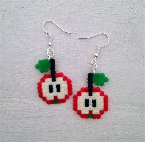 perler bead earrings apple perler bead earrings