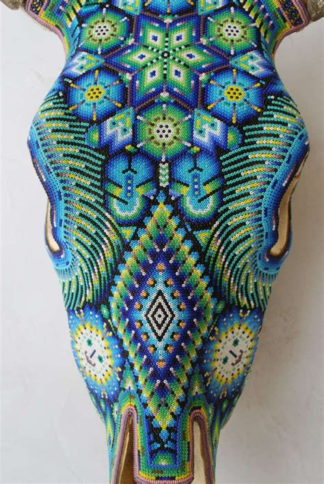 beaded cow skull beautiful huichol indian beaded cow skull at 1stdibs