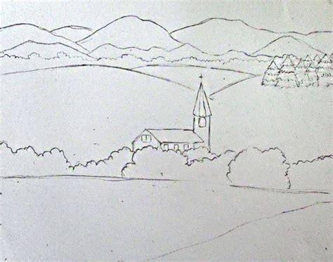 landscapes to draw color pencil landscape drawing