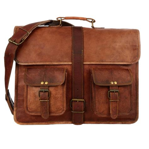 large for leather large brown style leather satchel laptop bag by