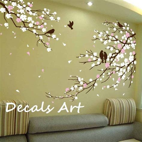branches wall stickers cherry blossom branches with birds vinyl wall sticker