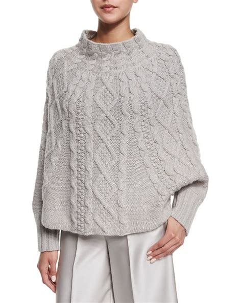 knitting pattern poncho with sleeves co cable knit sleeve poncho in gray save 40 lyst