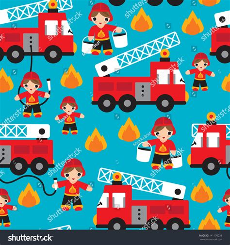 Decorative Fire Extinguisher seamless kids fire men truck illustration stock vector