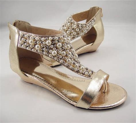 beaded wedding wedges pearl bridal shoes pearls sandals wedge wedding shoes