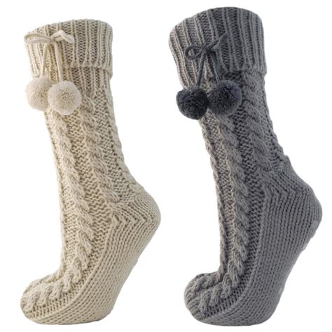 knit slipper socks chunky cable knit slipper socks with fleece lining