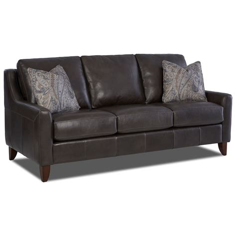 klaussner leather sofas klaussner belton leather sofa with track arms and fabric