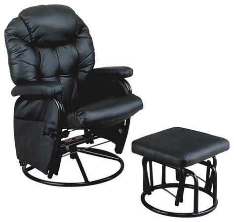 swivel rockers with ottomans monarch specialties black metal swivel rocker recliner