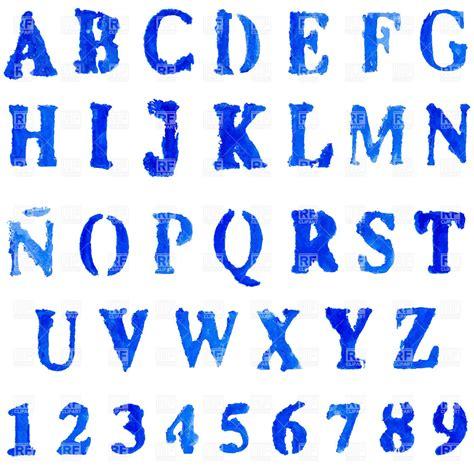 paint font vector font in blue colors watercolor paint vector