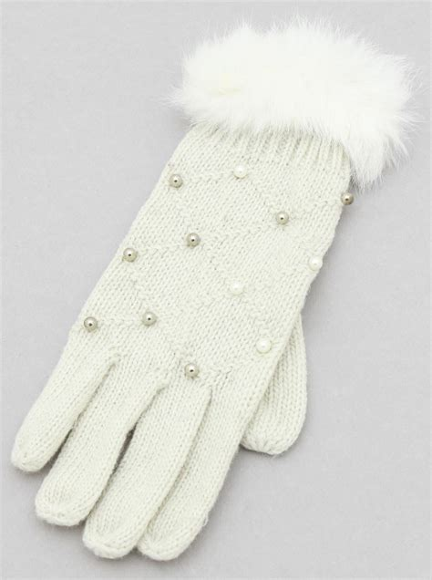 knit 2 pearl 2 knit with pearl fur gloves s2 wh095as ivory ivory