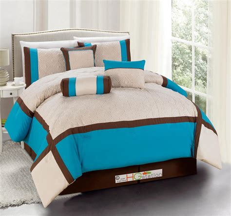 turquoise brown comforter sets 11 quilted square patchwork comforter curtain set